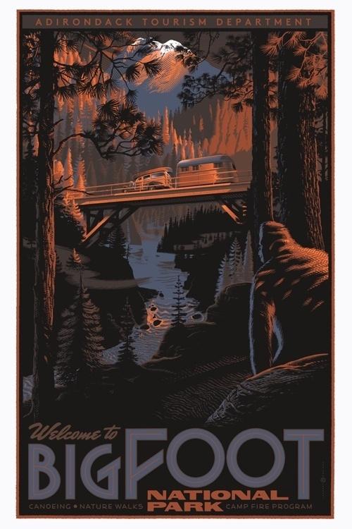 Bigfoot_regularfus.jpg 500×750 pixels #foot #big #free #acid #park #illustration #poster #national