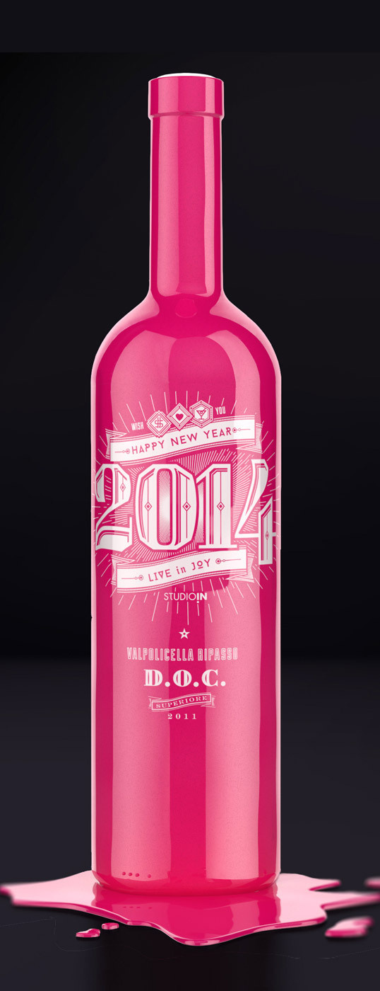 lovely package studioin new year 2014 2 #drank #bottle #packaging #pink #black