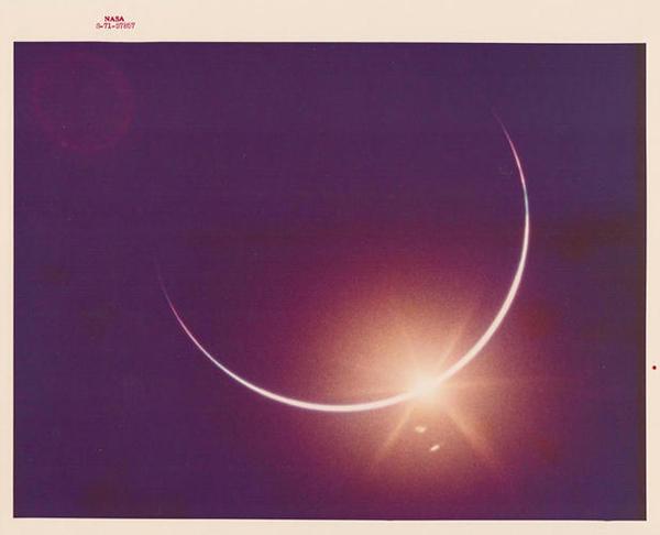 NASA's Golden Age —Earth eclipsing the sun, seen from Apollo 12, November 1969 #nasa #eclipse #space