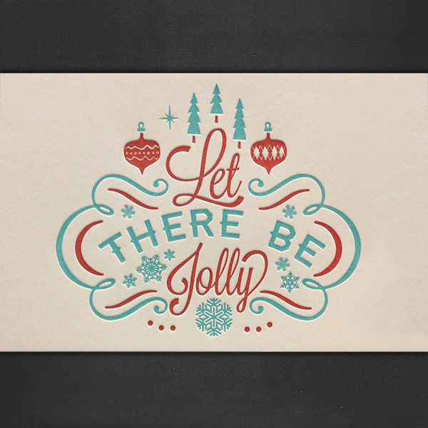 Let There Be Jolly Letterpressed Cards #card #letterpress #snow #ornaments #christmas #snowflake #vintage #trees