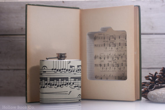 Vintage Book Safe & Musical Notes Liquor Hip Flask The Music Lovers Handbook #safe #flask #books #book #hollow #notes #vintage #music