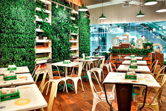 Restaurant so Luxuriantly Adorned with Graffiti flagship restaurant obed green wall #interior #design #restaurant