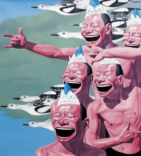 Yue Minjun and the signs of the techno-industrialists - but does it float #yue #painting #minjun