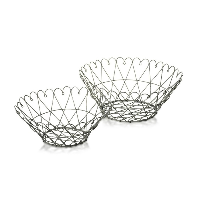 Baskets Heart Metal Brown Set of 2, 22.5cm and 26cm