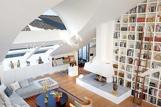 1-Impressive-Loft-on-Östermalmstorg-Square-in-Stockholm.jpg (600×398) #interior #design #windows #homes #architecture #fireplace #bookshelf