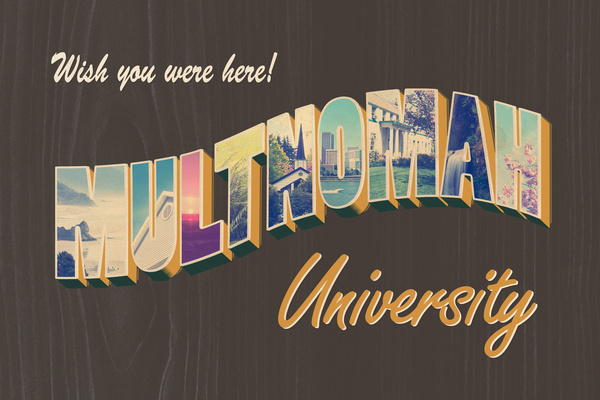 University mailer inspired by old postcards and the thrill of travel. #portland #travel #retro #woodgrain #vintage #postcard