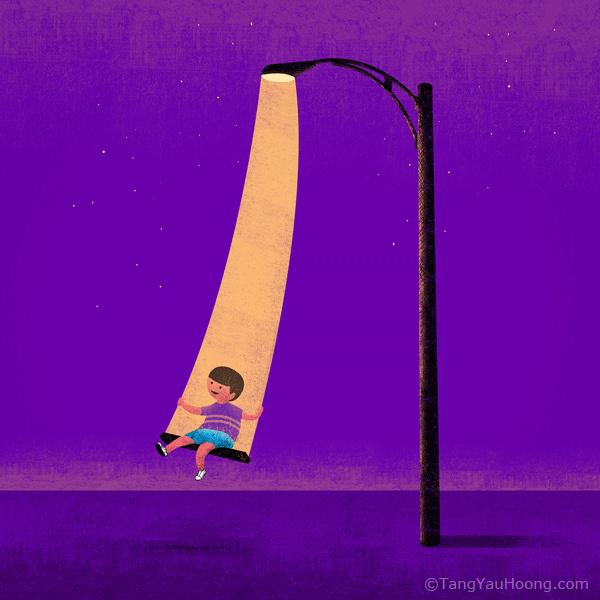 Swinging in the Light. | Flickr Photo Sharing! #kid #illustrations #ideas #night #purple #light