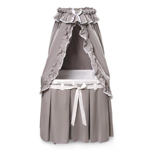 Majesty Baby Bassinet with Canopy - Gray/White Bedding