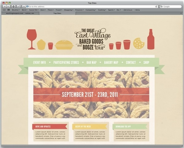 Baked Goods and Booze on the Behance Network #muted #design #website #illustration #colors #web