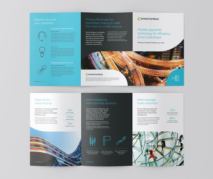 emerchantpay. Gateway brochure design and brand identity created by Southampton design agency Faculty Creative. #brochure #6pp