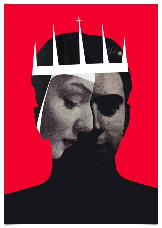Emmanuel Polanco / colagene.com #theater #red #priest #vinatge #classic #illustration #photography #religion #collage #queen #king
