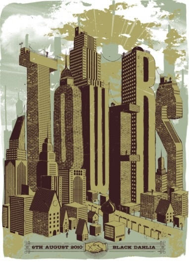 Gig Posters by Dustin Holmes Difícil escolher... #city #gig #illustration #posters #dustin #holmes #typography