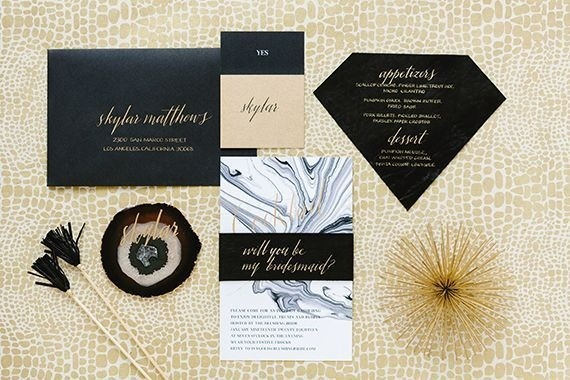 Geometric BlackGold Dinner Party / Modern Stationery / Marble / Agate Escort Cards / Black Leather / Kate Spade New York / 100 Layer Cake #geometry #invitation