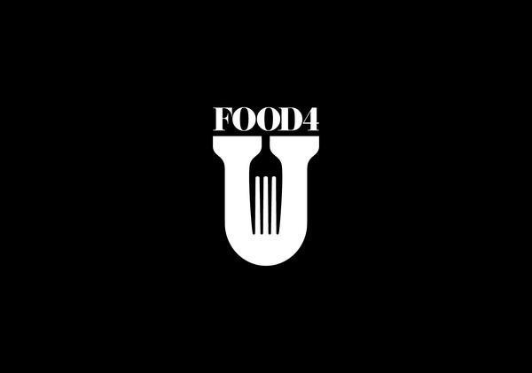 FOOD4U #branding #negative #space #logo #typography