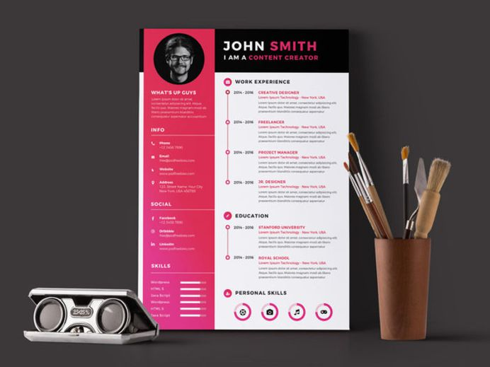 Free Content Creator Resume Template with Modern Design