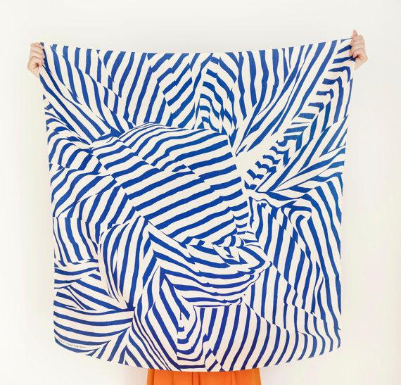 "Stripe Furoshiki Navy. ""Furoshiki"" Japanese multi wrapping cloth and scarf. #scarf #abstract #blue"