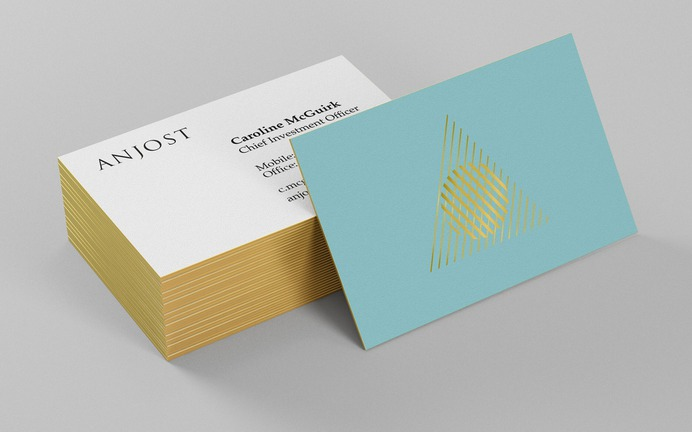 Anjost private investment company brand identity and illustration. Business card