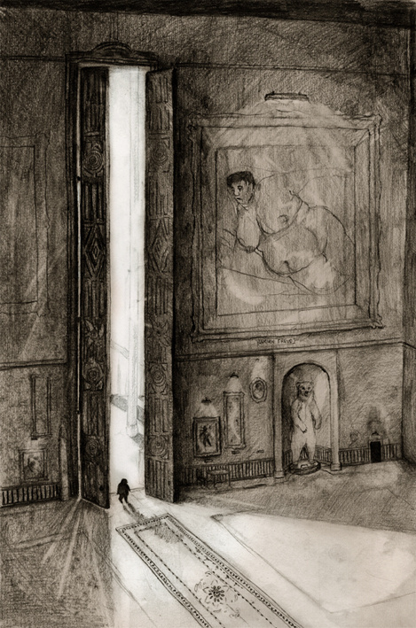 The Museum Joanne Young Illustration #gallery #height #museum #picture #exaggerated #exhibition #doors #illustration #painting #art