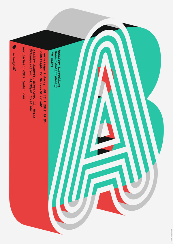 Bachelor Ausstellung Kommunikationsdesign FH Mainz, flyer submitted and designed by Marcel Haüsler (2012) –Type Only Unit Editions #form #editions #illustration #unit #typography