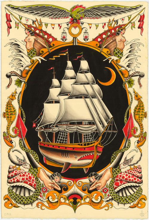 Syndicate Original #illustration #ship #tattoo