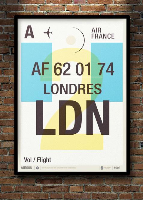 Image of Flight Tag Prints Londres #wishlist #stevens #neil #illustration #poster #typography