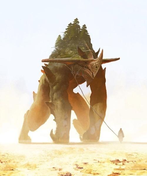 Golem #fantasy #golem #illustration #nature #sand #magic #monster #forest #character