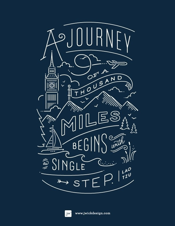 A Journey of a thousand miles / Lao Tzo Quote / Typography by Jennifer Wick #inspiration #lettering #quote #hand #typography