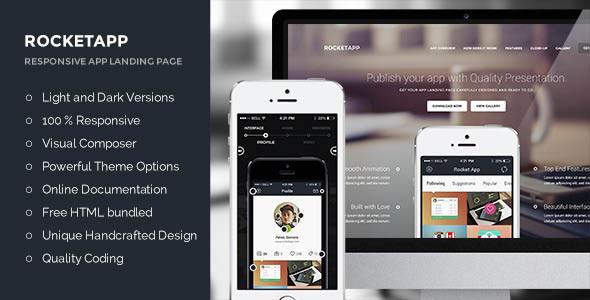 Rocket App - Mobile App Landing Page WordPress Theme