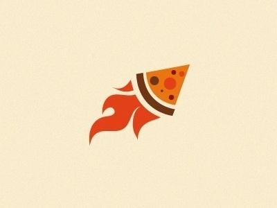 Dribbble - Rocket pizza by vasiliev #logo #rocket #branding #pizza