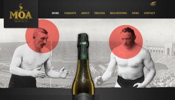 Moa Web design inspiration from siteInspire #drink #illustrative #promotional #retro #& #food #theme #type #dark #style