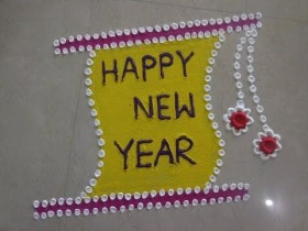 Paper roll Rangoli Designs with Happy New Year