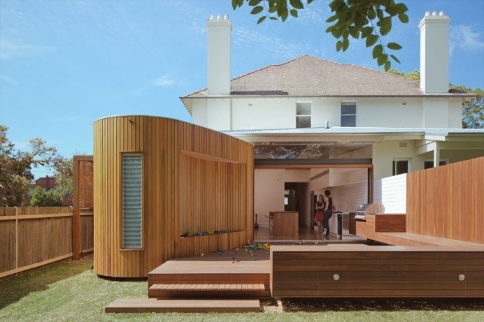 Bold conceptual approach for adding a open kitchen to a semi-detached home
