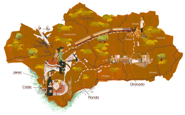 House And Garden Andalusia Map by The Tree House Press/Marc Aspinall #illustration #map