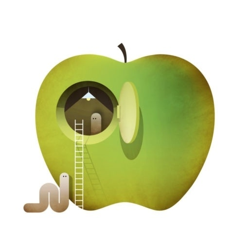 50/50 Grow | water Sally Caulwell #illustration #apple #idea