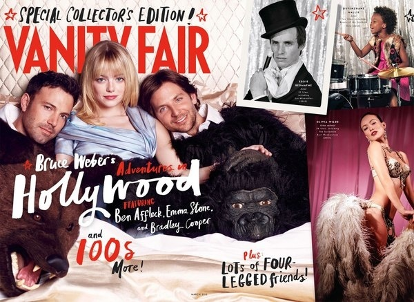 Ben Affleck, Emma Stone, and Bradley Cooper on Vanity Fairxe2x80x99s Hollywood Cover #handlettering #massmarket #cover #editorial #typography