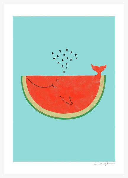 WhaleMelon – ilovedoodle #whale #illustration #fruit #poster
