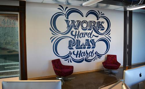 Work Hard, Play Hard Mural by Scott Biersack #lettering #mural #painted #type #hand #typography