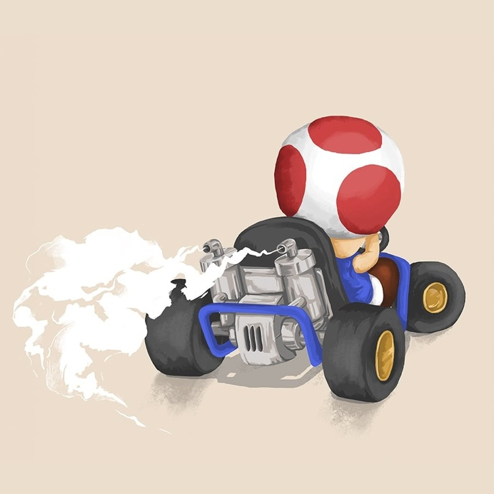 Toad - Mariokart64 #Mario #illustration #gaming #N64 #Mariokart #Retro #mushroom #nintendo