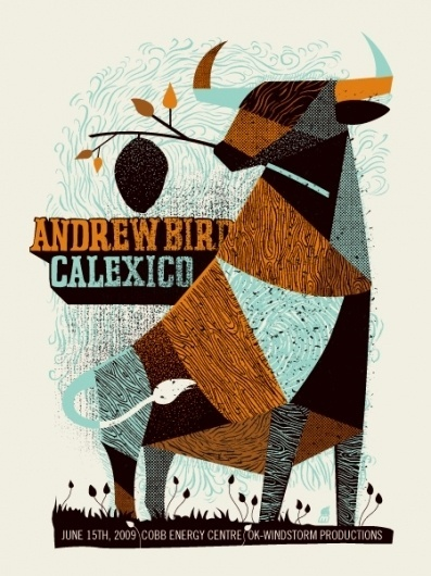 GigPosters.com - Andrew Bird #calexico #print #orange #texture #illustration #poster #blue