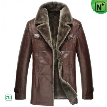Fur Lined Shearling Coat Men CW868821 #men #shearling #coat