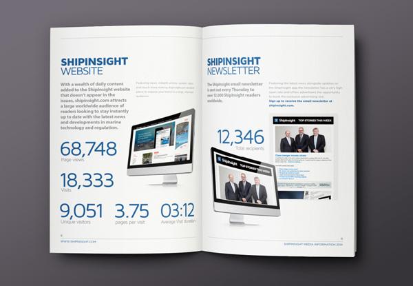 ShipInsight Media // Brochure on Behance #charts #graphics #infographics #print #infographic #graphic #icons #info #stats #marine #blue