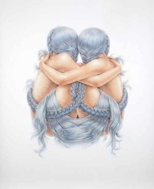 A Hopeful Combination 2013 pencil crayon on paper 44 #hair #illustration #braid #embrace #crayon #pencil