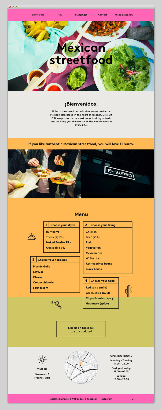 menu, streetfood, design, website, bright