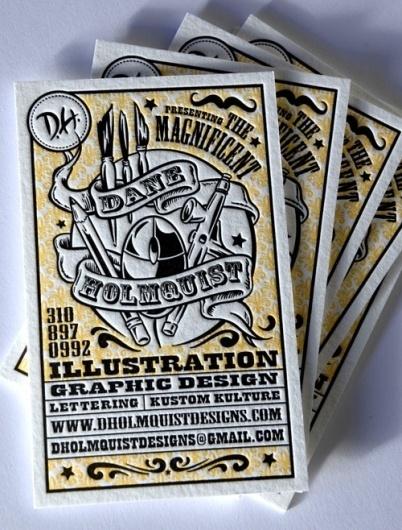 Business Card for: Dane Holmquist   The Best of Business Card Design #serif #yellow #letterpress #color #black #two #illustration #slab