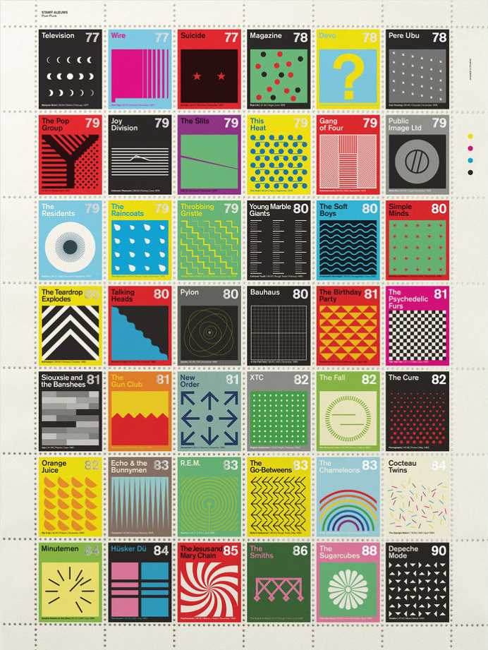Post-punk and post-rock albums redone as postage stamps on Swiss modernist design principles | Dangerous Minds