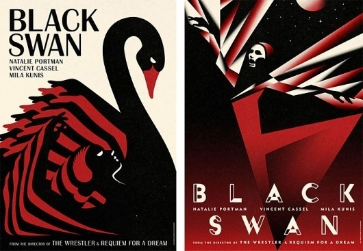 Fonts In Use – Black Swan Movie Posters #swan #black #brittanic #illustration #bat #poster #acier #typography