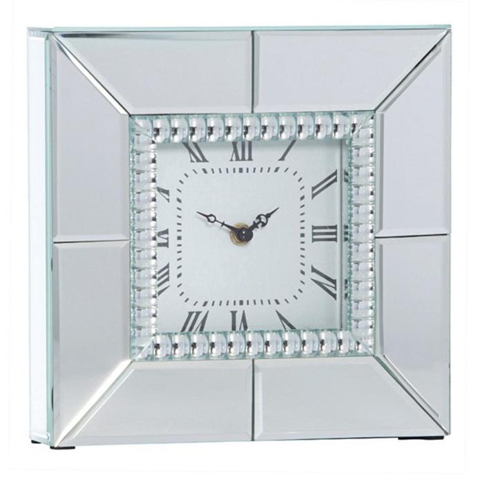 Chriss Mirror Square Table Clock, 25cm
