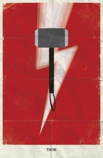 Juxtapoz Magazine - Minimal Marvel Posters by Marko Manev | Current #thor #marvel #minimal #poster