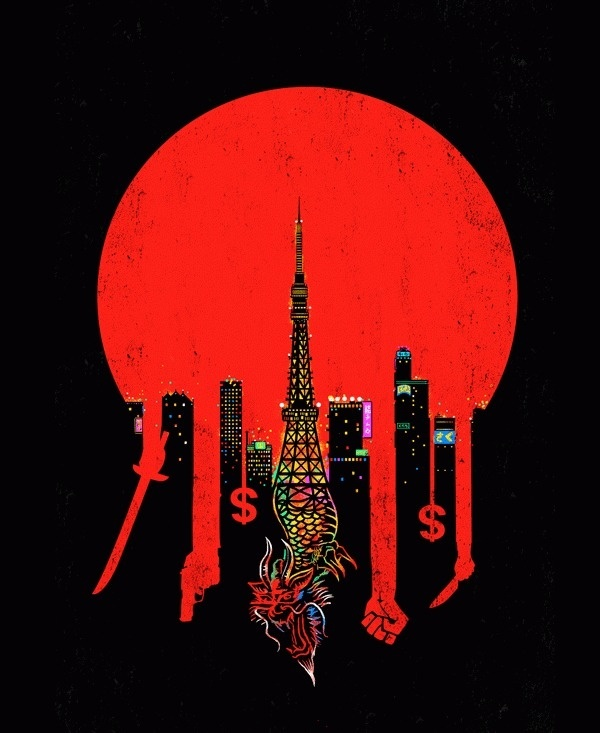 ce9c70fe270fb752a69731b5e8ec8c09.gif (GIF Image, 600×733 pixels) #paris #dragon #skyscrapers #red #circle #money #crime