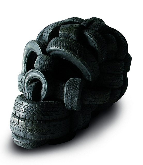 Stefano Bombardieri | Null Entropy #sculpture #stefano #tire #bombardieri #skull